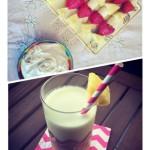 Tarde Tropical: Piña Colada y Brochetas de Fruta con Crema de Coco